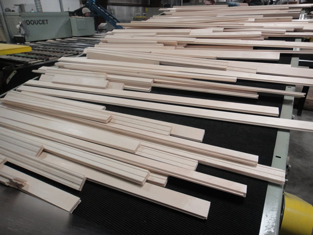 Hard Maple Flooring on Conveyor